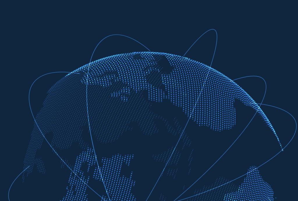 Globe in digital dots